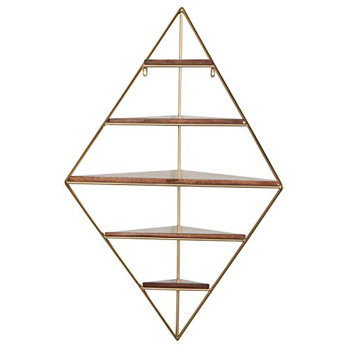 Rivet Modern Corner Floating Triangle 5 Shelf Wall Unit Decor - 36 Inch, Natural Wood and Gold