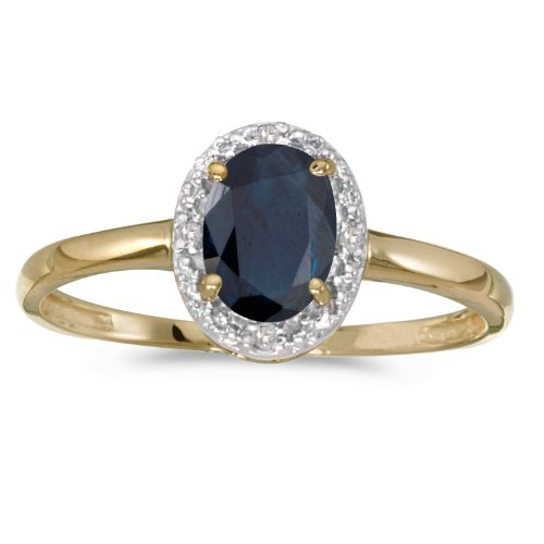 Yellow Sapphire Antique - 0.82 Carat ctw 10k Gold Oval Blue Sapphire Solitaire & Diamond Halo Engagement Promise Fashion Ring - Yellow-gold, Size 8