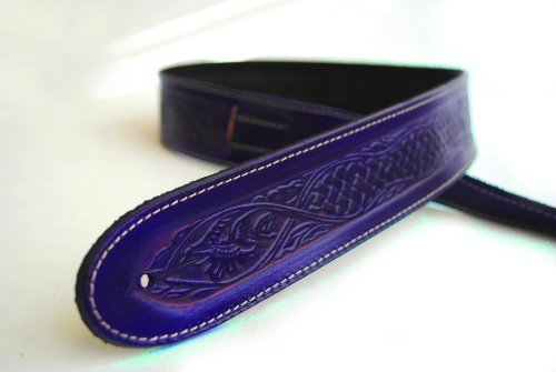 Uk-made Deluxe Texan Leather Guitar Strap - Acoustic Bass +