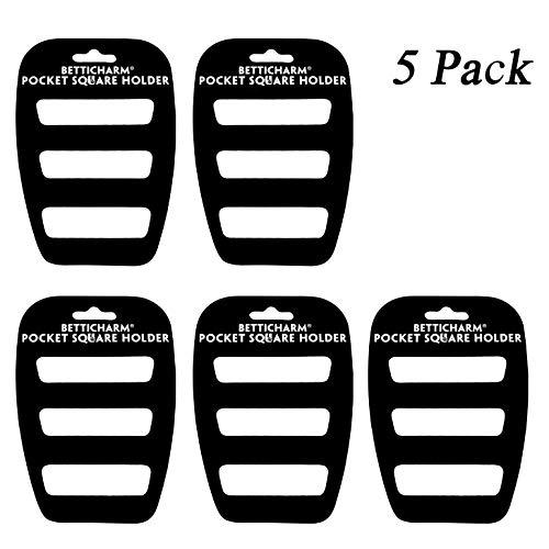 BettiCharm Slim Pocket Square Holders, Men's Suit Handkerchiefs Keeper/Organizer (5 Pack) by BettiCharm