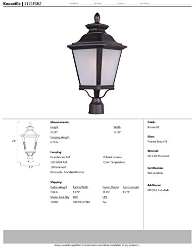 Maxim 1121FSBZ Knoxville 1-Light Outdoor Pole/Post Lantern, Bronze Finish, Frosted Seedy Glass, MB Incandescent Incandescent Bulb , 3W Max., Dry Safety Rating, 3000K Color Temp, Standard Triac/Lutron or Leviton Dimmable, Shade Material, 840 Rated Lumens by Maxim Lighting (Image #1)