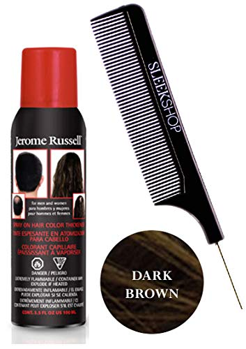 Jerome RusselL SPRAY ON HAIR COLOR THICKENER for MEN & WOMEN (w/Sleek Steel Pin Tail Comb) 3.5 oz / 100 g Haircolor Dye for Thinning hair or Hair Loss Hairspray -