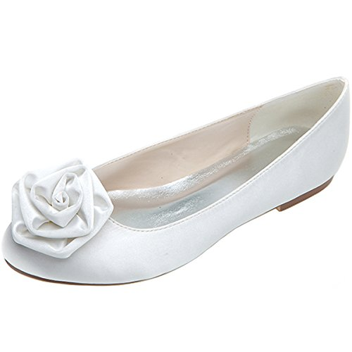 White Slip Shoes Toe Court Bridal Flats LOSLANDIFEN a On Elegant Wedding Women's Rounded xqwxIpvPU