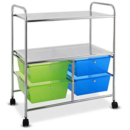 Giantex Rolling Storage Cart w/ 4 Drawers 2 Shelves Metal Rack Shelf Home Office School Beauty Salon Utility Organizer Cart with Wheels (Blue & ()