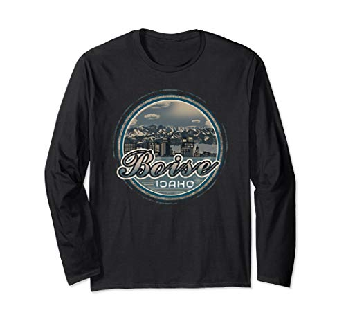 Distressed Graphic Boise Idaho State Long Sleeve T Shirt