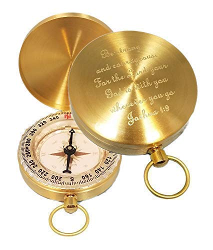 Stanley London Brass Pocket Compass Engraved Joshua 1:9 - Great for Baptisms, Confirmations, Missionary, Birthdays, Graduations (Compass Only, Personalized) ()