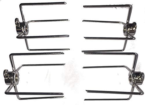 RCK Sales Rotisserie Forks for Grilling Set of Four (4) Forks Chrome Plated for 1/4″ Rod