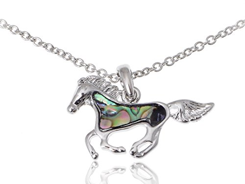 Cute Silvery Tone Faux Abalone Shell Body Racing Race Horse Adj Fashion Necklace