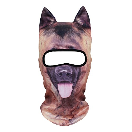 WTACTFUL 3D Animal Ears Balaclava Breathable Cover Hood Face Mask Sun Protection for Skiing Snowmobile Riding Hunting Music Festivals Raves Halloween Party Activities German Shepherd Dog ()