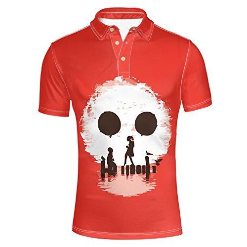 Metal Short Sleeve Tee - HUGS IDEA Skull Bone Design Men's Pique Polos Shirt Summer Short Sleeve Button Down T-Shirt Red Tees