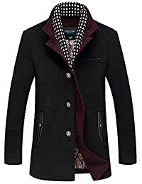 Oncefirst Men's Stand Color Single Breasted Trench Wool Coat