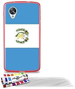 """Carcasa Flexible Ultra-Slim GOOGLE NEXUS 5 de exclusivo motivo [Guatemala Bandera] [Roja] de MUZZANO  + 3 Pelliculas de Pantalla """"UltraClear"""" + ESTILETE y PAÑO MUZZANO REGALADOS - La Protección Antigolpes ULTIMA, ELEGANTE Y DURADERA para su GOOGLE NEXUS 5"""