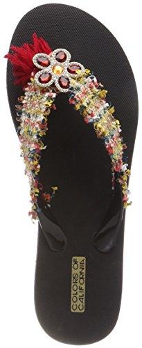 Flip Femme Colors Tongs Trim multi Eva Etnic California Mehrfarbig With Flop Of zzrwxRfqt