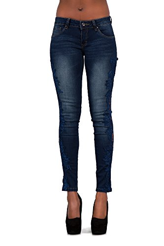 Skinny Donna Blue Lace Side Navy Jeans Lustychic 4qwa88