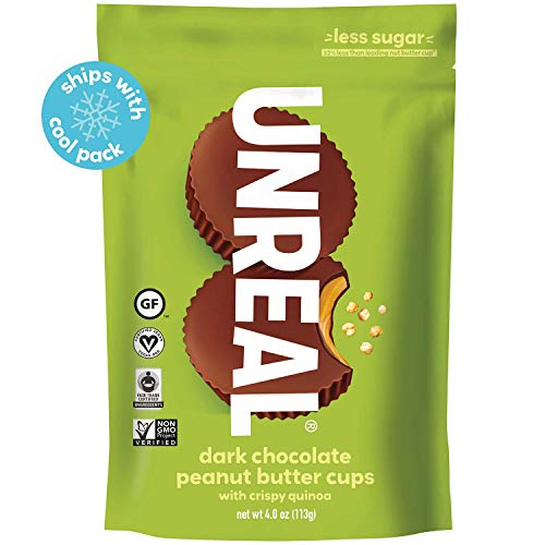 (UNREAL Dark Chocolate Crispy Quinoa Peanut Butter Cups - Vegan, Gluten Free, Less Sugar (6 Bags))