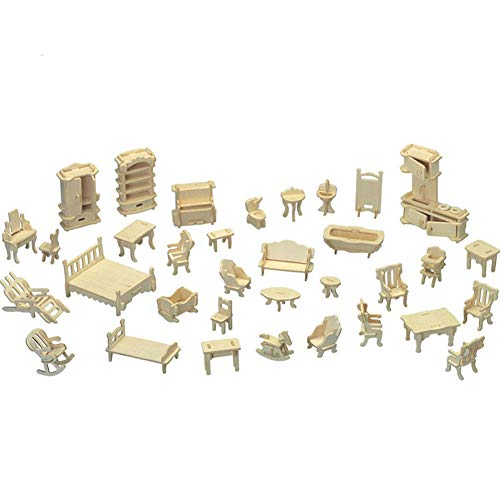 Wood Diy Crafts - 34pcs Set Gifts Diy Kids Mini Furniture Dolls House Vintage 3d Model Toys Wooden - Wood Crafts Wood Crafts Mini Japanese Dollhouse Tree Craft Wooden House Miniature Bear from Trispavs