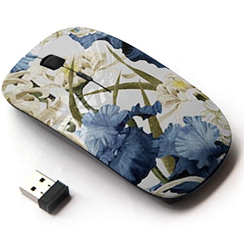 Ergonomic Optical 2.4G Wireless Mouse - Floral Chrysanthemum Iris