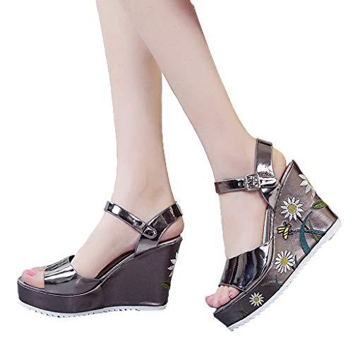WEISUN Wedges Sandals Summer Women Fish Mouth Wedge Sandals Blet Buckle Flat Bottomed Sandals Brown