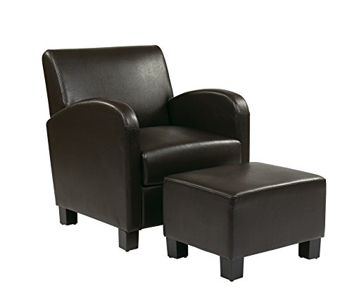 - OSP Designs Office Star Metro Faux Leather Club Chair with Ottoman and Espresso Finish Legs, Espresso