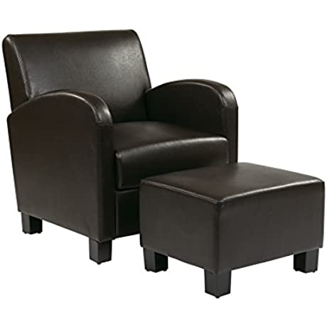 Office Star Metro Faux Leather Club Chair With Ottoman And Espresso Finish Legs Espresso