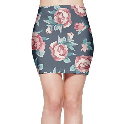 LeYue Women's Short Slim Fit Skirt Unique Print Skirt Watercolor Rose Mini Bodycon Skirt (Rose Watercolor Skirt Print)
