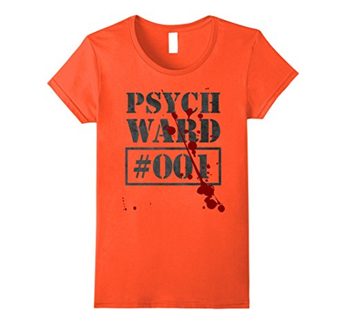 Ward Costume (Womens Psych Ward T-Shirt | Funny Prisoner Costume Inmate Vintage Medium Orange)
