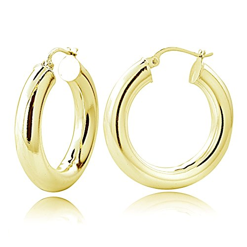 Hoops & Loops Flash Plated Gold Sterling Silver 5mm High Polished Round Hoop Earrings, 30mm