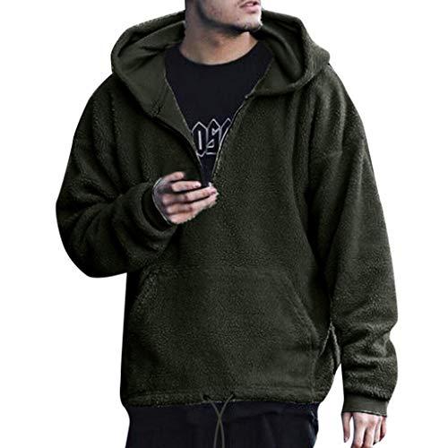 SFE Men's Winter Faux Fur Hoodie Cotton Jacket Solid Color Warm Fashion Coat Down Jacket