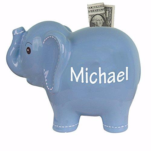 Personalized Blue Elephant Bank Ceramic Piggy ()
