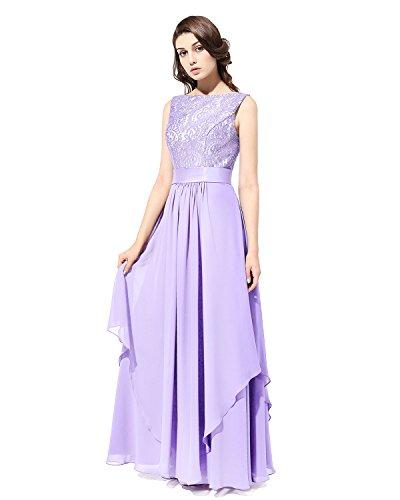 Party Abendkleider e Kleid Chiffon Lavender Lang 36 V Bridesmay Brautjungfern Ausschnitt Gr Fpw0pY