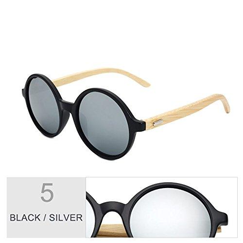 De Mujer Vintage Black Silver Gafas Hombres Sol TIANLIANG04 De Sol Regreso Para Bambú De Redondo De Mujeres Steampunk Azul Gafas Madera Negro En De nAwxtqB8Pt