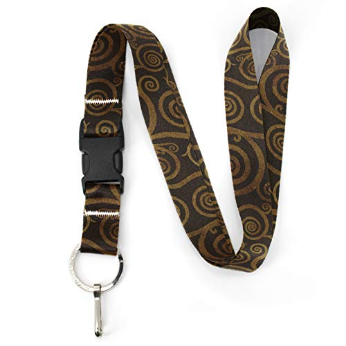 Buttonsmith Topaz Swirls Premium Lanyard - with Buckle and Flat Ring - Made in The USA