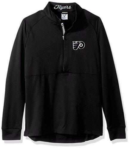 Levelwear LEY9R NHL Philadelphia Flyers Women's Harmony Insignia Banner Stripe Half Zip Mid-Layer Apparel, X-Large, Black