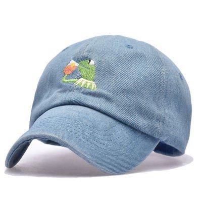 QETUOAD New Forg Tea Pepe Dad Hat Embroidery Baseball Caps Black Snapback Trucker Hats Summer Heart Hip Hop Rapper Cap Adjustable,Frog Denim Blue