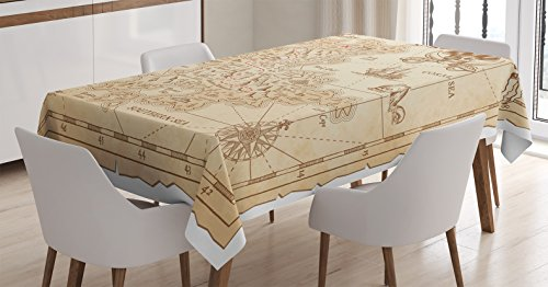 Ocean Island Decor Tablecloth by Ambesonne, Old Ancient Antique Treasure Map with Details Retro Color Adventure Sailing Pirate Print, Dining Room Kitchen Rectangular Table Cover, 60 X 90 Inches Treasure Map Personalized