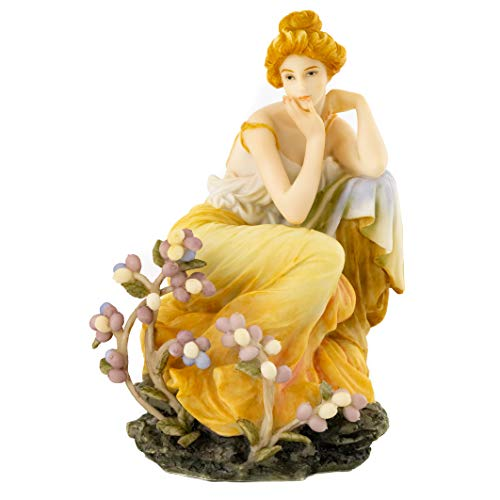 (Top Collection French New Art Nouveau Contemplation Statue - Hand Painted Collectible Beautiful Lady Sculpture in Yellow Dress - 7-Inch Alphonse Mucha Collection)