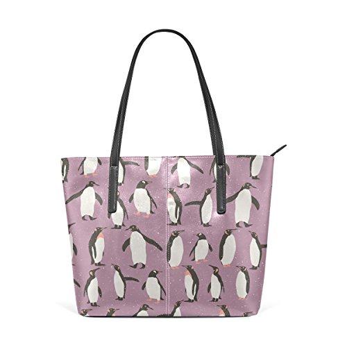 Womens Leather Handbags Purple Penguin Purses Shoulder Tote Bags Satchel