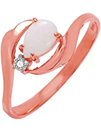 0.26 Carat 14k Solid Rose Gold Ring with Natural Diamond and Pear-Shaped Opal - Size 7