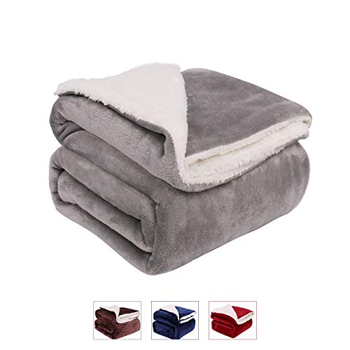 LONGFINE Double Throw Blanket, Berber Fleece Blanket,Lightweight Microfiber Blankets Sofa,Soft Cozy,50 x 60 inch (Grey, 5060) ()