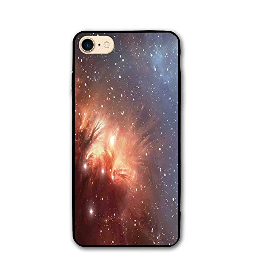 Haixia IPhone 7/8 Phone Case 4.7 Inch Space Decorations Detailed Image Of Nebula Cloud Gas And Star Dust Universe Astronomy Print Full Burnt Orange Blue