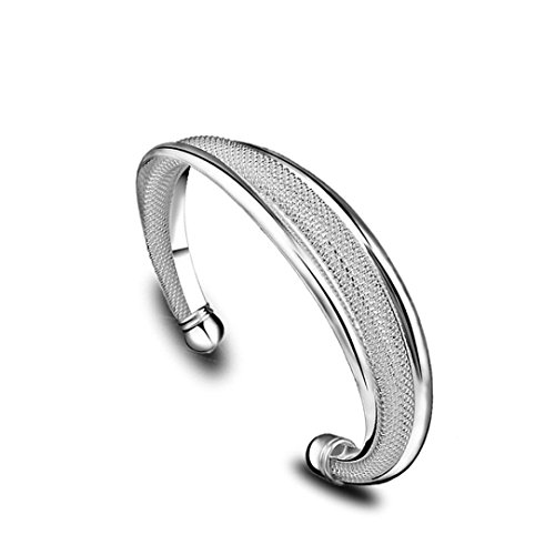 Bracelets, Susenstone New Fashion Jewelry 925 Sterling Silver Womens Charm Bangle Bracelet Gift (925 Silver New Bracelet)
