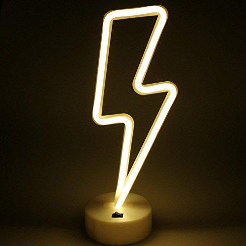 Lightning Bolt Neon Signs,Creative LED Lightning Decor Light Neon Sign,Wall Decor for Home,Birthday Party,Kids Room, Living Room,Wedding Party Decor (Warm White) (Eye Short Bolt)