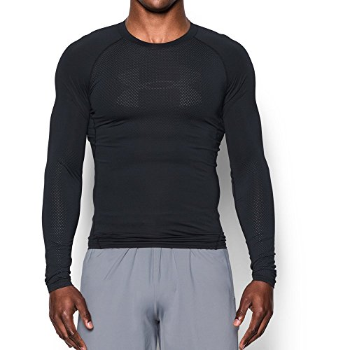 Under Armour Men's HeatGear Armour Printed Long Sleeve Compression Shirt, Black/Stealth Gray, XXX-Large