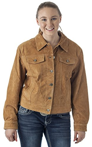 Reed Women's Western Jean Shirt Style Suede Leather Jacket (XL)