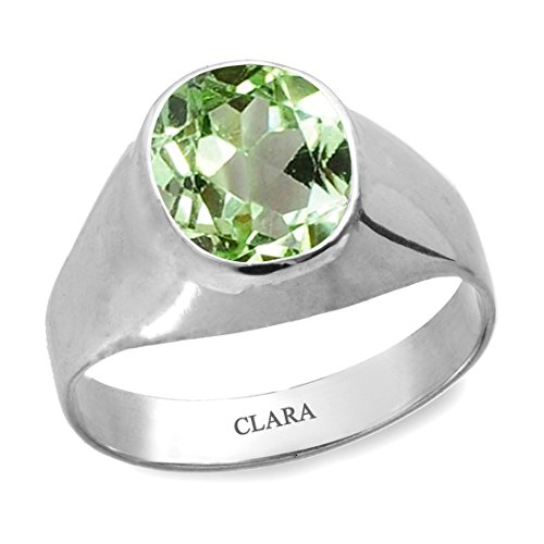 Clara Certified Peridot 7.5cts or 8.25ratti original stone Sterling Silver Astrological Ring for Men and Women by Clara