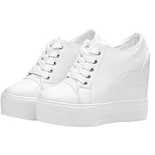 Women Wedges Sneakers with Hidden Heel Ankle High Wide Width Platform Walking Shoes (6, White)