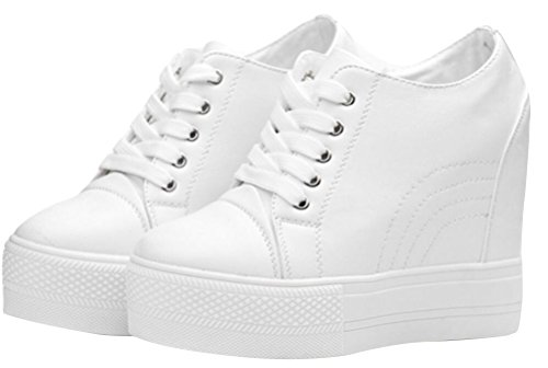 Women Wedges Sneakers with Hidden Heel Ankle High Wide Width Platform Walking Shoes (8.5, White) -