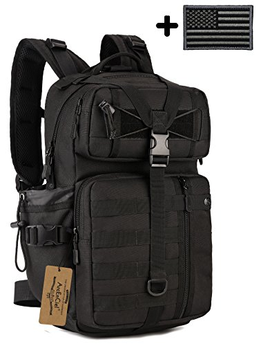 ArcEnCiel Tactical Outdoor Hydration Water Backpack Bag with Patch (Black)