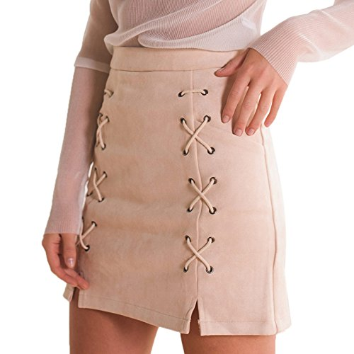 Fendu Faux Jupe Bodycon Sexy Lacets Taille Femme Courte Jupe Haute Mode Beige En Sude Daim Crayon Elonglin Mini XOaSww