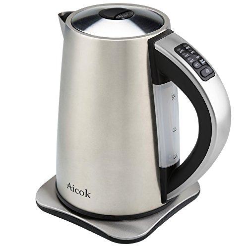 Aicok Edelstahl Wasserkocher 2200 Watt und 1,7 Liter , 6 wählbare Temperatureinstellungen 40, 60, 70, 80, 90, 100 Grad, mit integriertem Kalkfilter(leicht zu reinigen) ,Silber